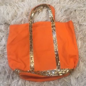 5 for $25!!! Canvas and Sequin Tote orange / gold